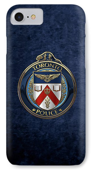 IPhone Case featuring the digital art Toronto Police Service  -  T P S  Emblem Over Blue Velvet by Serge Averbukh
