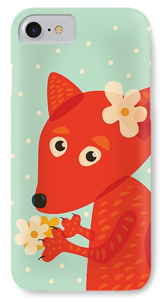 Cute Pretty Fox With Flowers IPhone Case