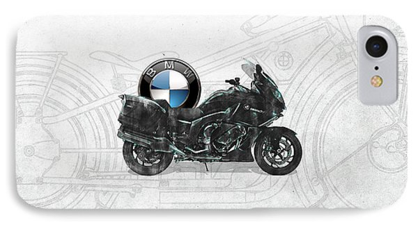 IPhone Case featuring the digital art 2016 Bmw-k1600gt Motorcycle With 3d Badge Over Vintage Blueprint  by Serge Averbukh
