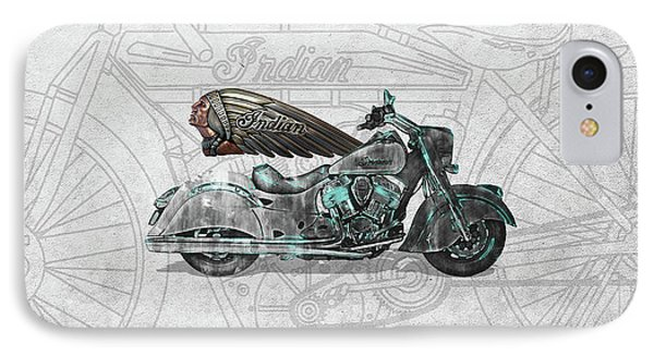 IPhone Case featuring the digital art 2017 Indian Chief Classic Motorcycle With 3d Badge Over Vintage Blueprint  by Serge Averbukh