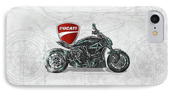 IPhone Case featuring the digital art 2017 Ducati Xdiavel-s Motorcycle With 3d Badge Over Vintage Blueprint  by Serge Averbukh