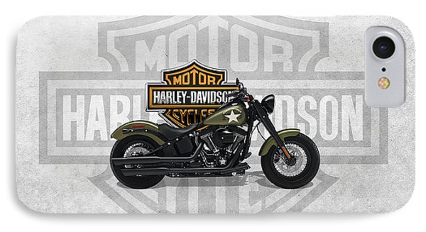IPhone Case featuring the digital art 2017 Harley-davidson Softail Slim S Motorcycle With 3d Badge Over Vintage Background  by Serge Averbukh