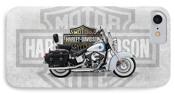 IPhone Case featuring the digital art 2017 Harley-davidson Heritage Softail Classic  Motorcycle With 3d Badge Over Vintage Background  by Serge Averbukh