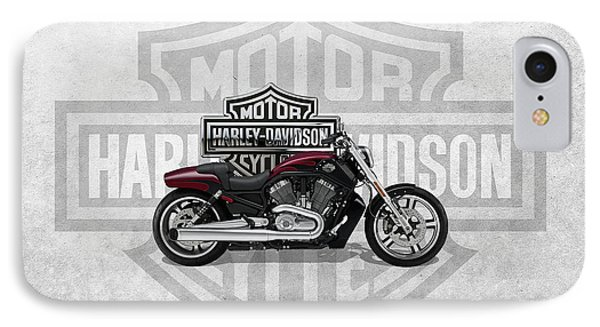 IPhone Case featuring the digital art 2017 Harley-davidson V-rod Muscle Motorcycle With 3d Badge Over Vintage Background  by Serge Averbukh