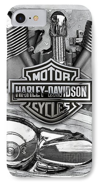 IPhone Case featuring the digital art Harley-davidson Motorcycle Engine Detail With 3d Badge  by Serge Averbukh