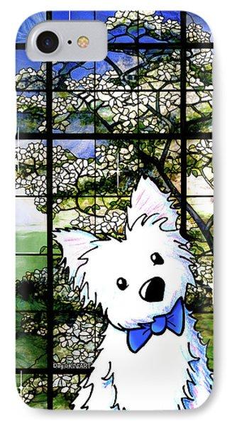 Westie At Dogwood Window Phone Case by Kim Niles