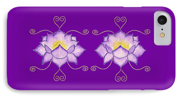 IPhone Case featuring the mixed media Purple Lotus by Elizabeth Lock