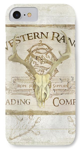 IPhone Case featuring the painting Western Range 3 Old West Deer Skull Wooden Sign Trading Company by Audrey Jeanne Roberts
