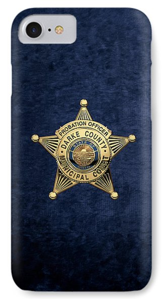 Darke County Municipal Court - Probation Officer Badge Over Blue Velvet IPhone Case