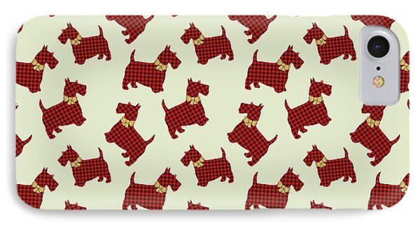 IPhone Case featuring the mixed media Scottie Dog Plaid by Christina Rollo
