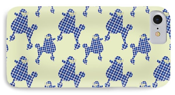 IPhone Case featuring the mixed media French Poodle Plaid by Christina Rollo