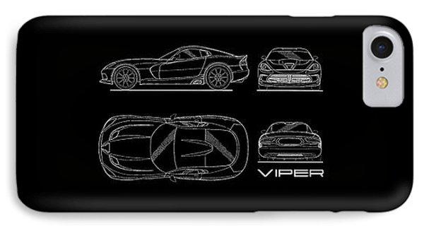 Srt Viper Blueprint IPhone 7 Case by Mark Rogan