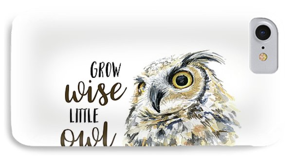 Grow Wise Little Owl IPhone Case by Olga Shvartsur