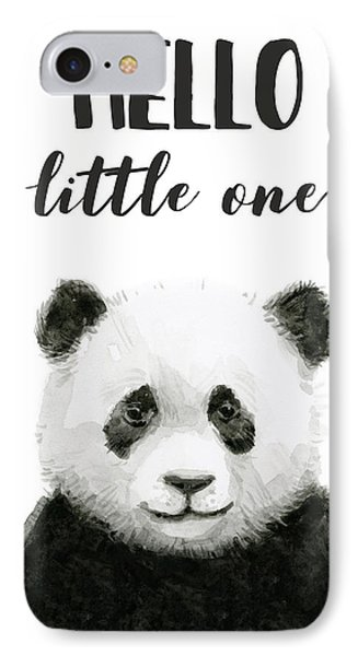 Baby Panda Hello Little One Nursery Decor IPhone Case by Olga Shvartsur