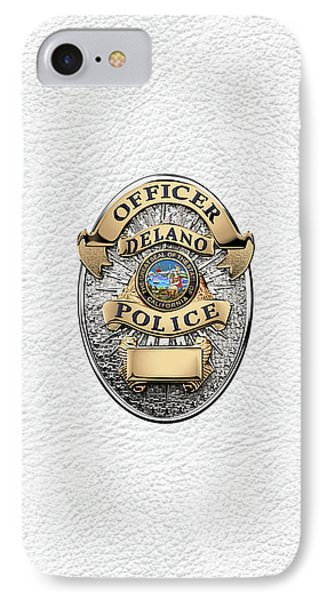 Delano Police Department - Officer Badge Over White Leather IPhone Case
