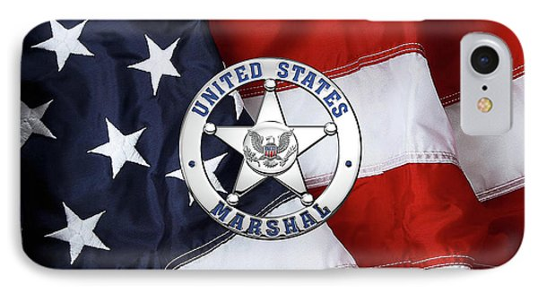 U. S. Marshals Service  -  U S M S  Badge Over American Flag IPhone Case