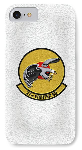 IPhone Case featuring the digital art 27th Fighter Squadron - 27 Fs Patch Over White Leather by Serge Averbukh