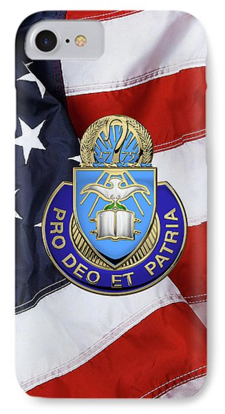 IPhone Case featuring the digital art U.s. Army Chaplain Corps - Regimental Insignia Over American Flag by Serge Averbukh