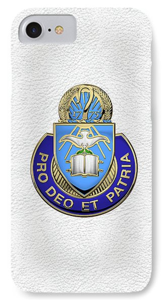 IPhone Case featuring the digital art U.s. Army Chaplain Corps - Regimental Insignia Over White Leather by Serge Averbukh