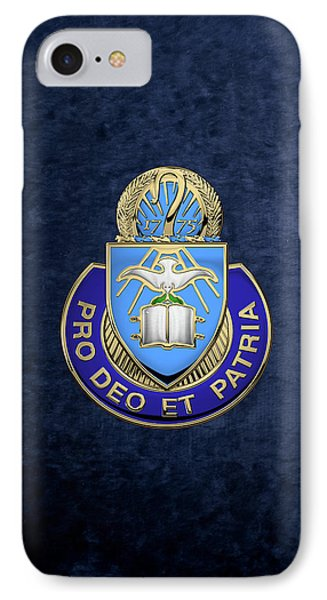 IPhone Case featuring the digital art U. S. Army Chaplain Corps - Regimental Insignia Over Blue Velvet by Serge Averbukh