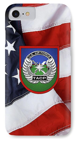 IPhone Case featuring the digital art U. S.  Air Force Tactical Air Control Party -  T A C P  Beret Flash With Crest Over American Flag by Serge Averbukh