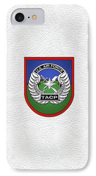 IPhone Case featuring the digital art U. S.  Air Force Tactical Air Control Party -  T A C P  Beret Flash With Crest Over White Leather by Serge Averbukh