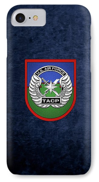 IPhone Case featuring the digital art U. S.  Air Force Tactical Air Control Party -  T A C P  Beret Flash With Crest Over Blue Velvet by Serge Averbukh
