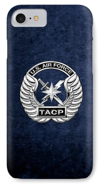 IPhone Case featuring the digital art U. S.  Air Force Tactical Air Control Party -  T A C P  Badge Over Blue Velvet by Serge Averbukh