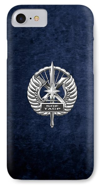 IPhone Case featuring the digital art U.s. Air Force Tactical Air Control Party - Special Tactics Tacp Crest Over Blue Velvet by Serge Averbukh