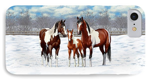 Bay Paint Horses In Winter IPhone Case