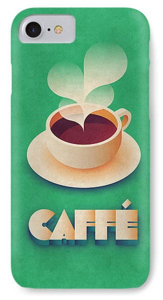 Coffee Retro - Green IPhone Case by Ivan Krpan