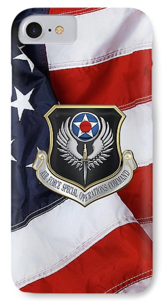 Air Force Special Operations Command -  A F S O C  Shield Over American Flag IPhone Case by Serge Averbukh