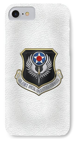 Air Force Special Operations Command -  A F S O C  Shield Over White Leather IPhone Case by Serge Averbukh