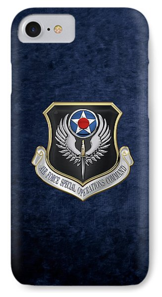 Air Force Special Operations Command -  A F S O C  Shield Over Blue Velvet IPhone Case by Serge Averbukh