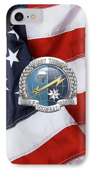 U. S.  Air Force Combat Control Teams - Combat Controller C C T Badge Over American Flag IPhone Case by Serge Averbukh