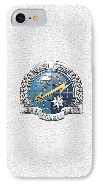 U. S.  Air Force Combat Control Teams - Combat Controller C C T Badge Over White Leather IPhone Case by Serge Averbukh