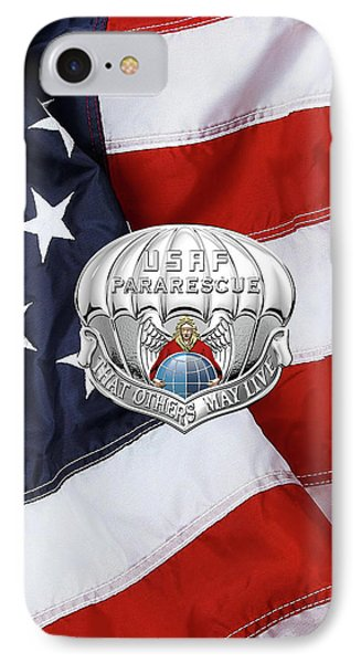 U. S.  Air Force Pararescuemen - P J Badge Over American Flag IPhone Case by Serge Averbukh