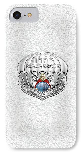 U. S.  Air Force Pararescuemen - P J Badge Over White Leather IPhone Case by Serge Averbukh