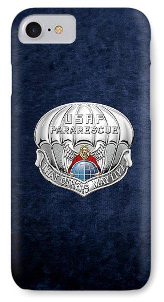 U. S.  Air Force Pararescuemen - P J Badge Over Blue Velvet IPhone Case by Serge Averbukh