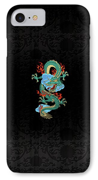 The Great Dragon Spirits - Turquoise Dragon On Black Silk IPhone Case by Serge Averbukh