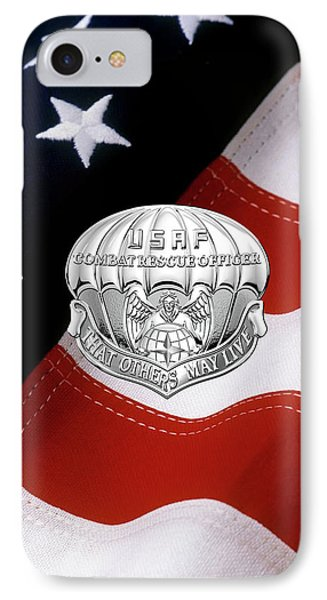 U. S.  Air Force Combat Rescue Officer - C R O Badge Over American Flag IPhone Case by Serge Averbukh
