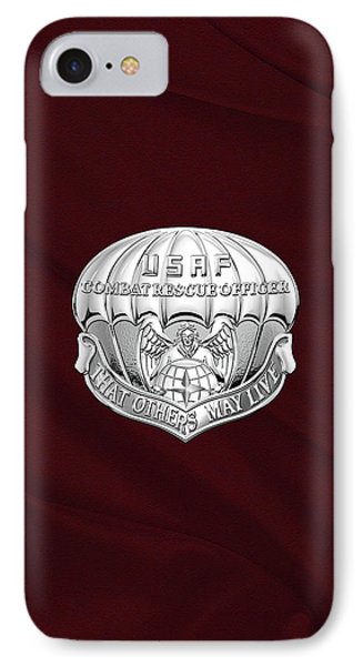 U. S.  Air Force Combat Rescue Officer - C R O Badge Over Maroon Felt IPhone Case by Serge Averbukh