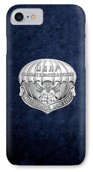 U. S.  Air Force Combat Rescue Officer - C R O Badge Over Blue Velvet IPhone Case by Serge Averbukh