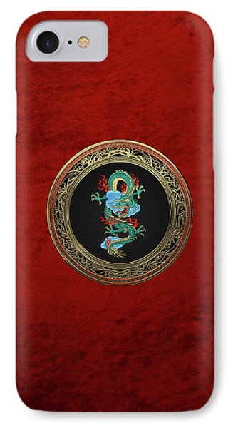 Treasure Trove - Turquoise Dragon Over Red Velvet IPhone Case by Serge Averbukh