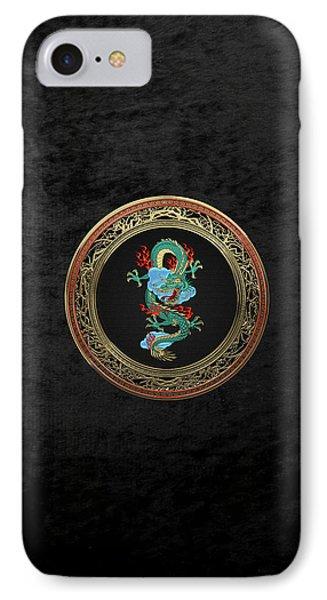 Treasure Trove - Turquoise Dragon Over Black Velvet IPhone Case by Serge Averbukh