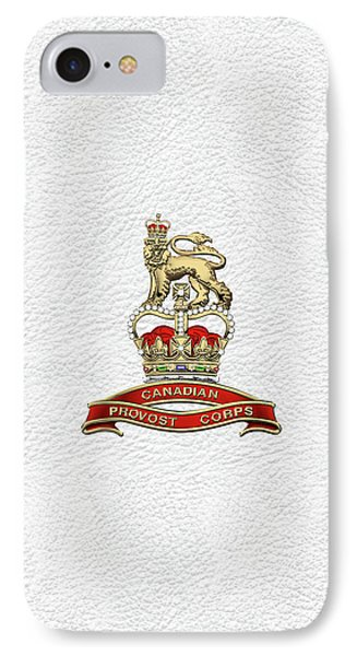 Canadian Provost Corps - C Pro C Badge Over White Leather IPhone Case by Serge Averbukh