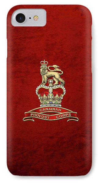 Canadian Provost Corps - C Pro C Badge Over Red Velvet IPhone Case by Serge Averbukh