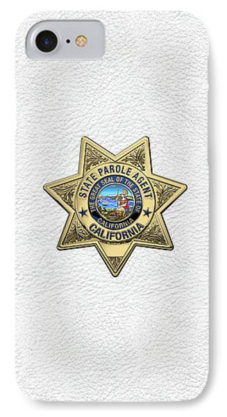 California State Parole Agent Badge Over White Leather IPhone Case by Serge Averbukh