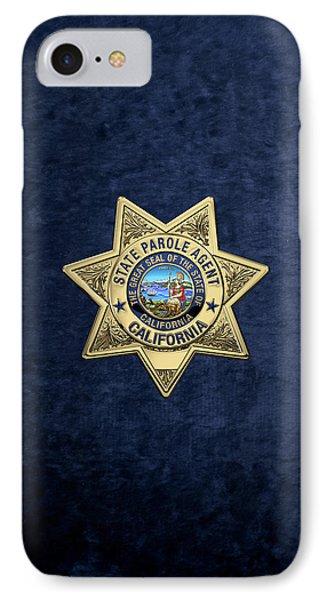 California State Parole Agent Badge Over Blue Velvet IPhone Case by Serge Averbukh