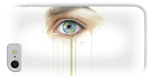 Crying Earth Eye IPhone Case by Olga Shvartsur